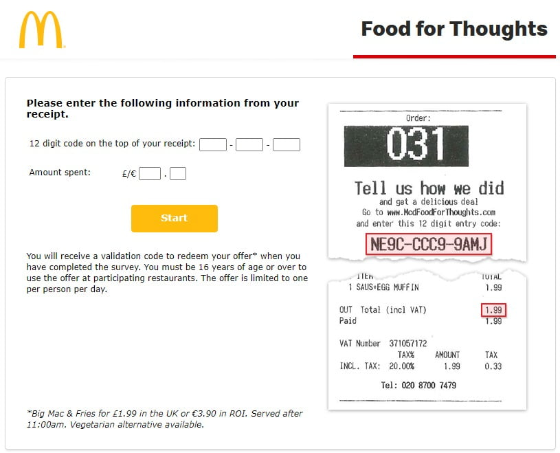 McDonalds Food for Thoughts Survey